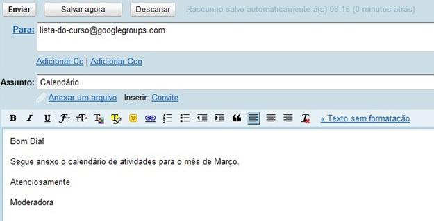 Mandando mensagem pelo email