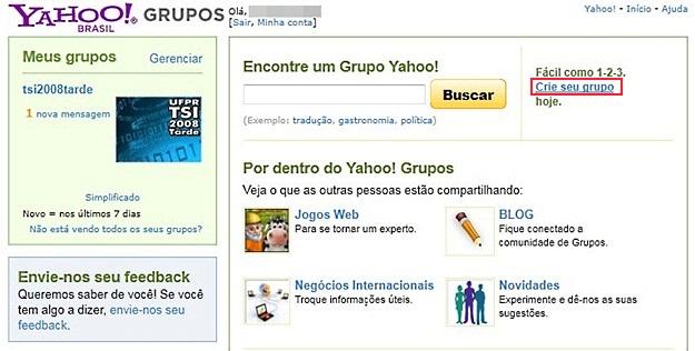 Criando grupo no Yahoo!