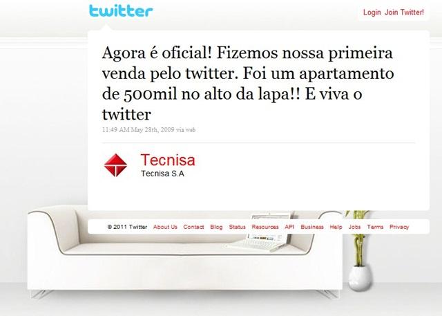 Tecnisa, construtora e angariadora, fez a primeira venda pelo Twitter em 2009