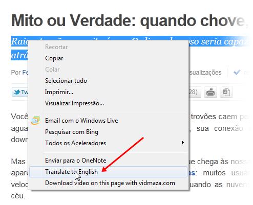 Traduza os textos no seu navegador