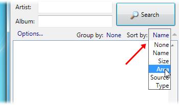 Organize a lista por tamanho dos arquivos