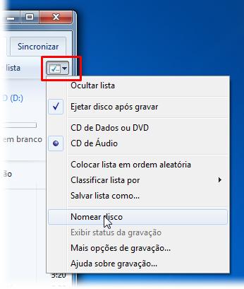 Mude o nome do disco e faça outras alterações no menu de opções