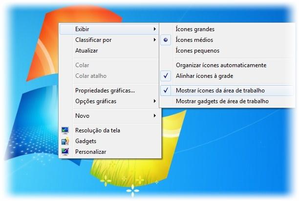 Explore o menu de contexto para organizar ícones ou limpar a Área de trabalho.
