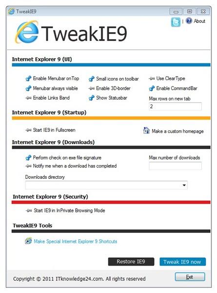 Personalize itens do Internet Explorer 9