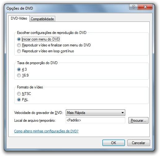 Opções do Criador de DVD.