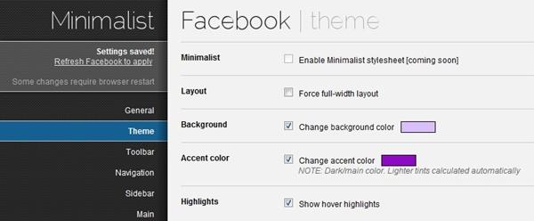 Alterando as cores do perfil