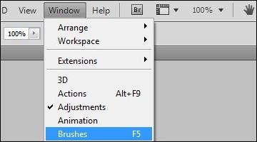 Vá a Window > Brushes.