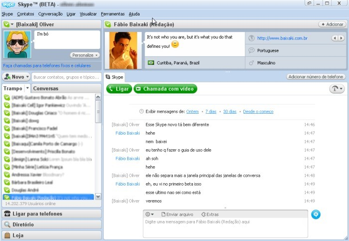 Interface modificada do novo Skype.
