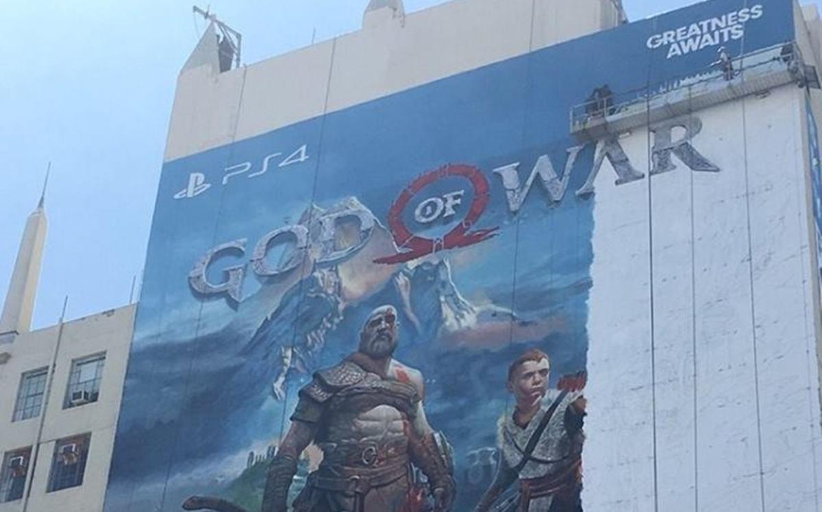 Publicidade monstruosa de God of War na E3 cobre quase todo o prédio