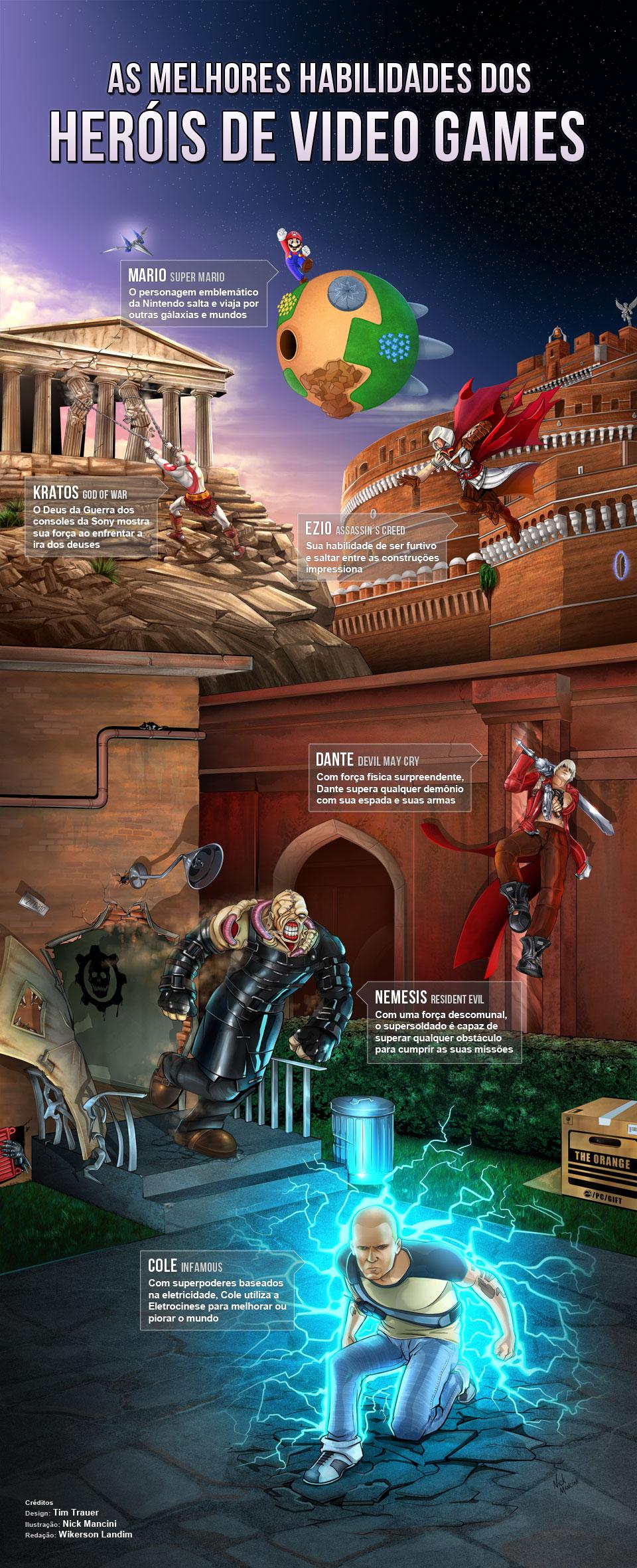 As melhores habilidades dos heróis de video games [infográfico]