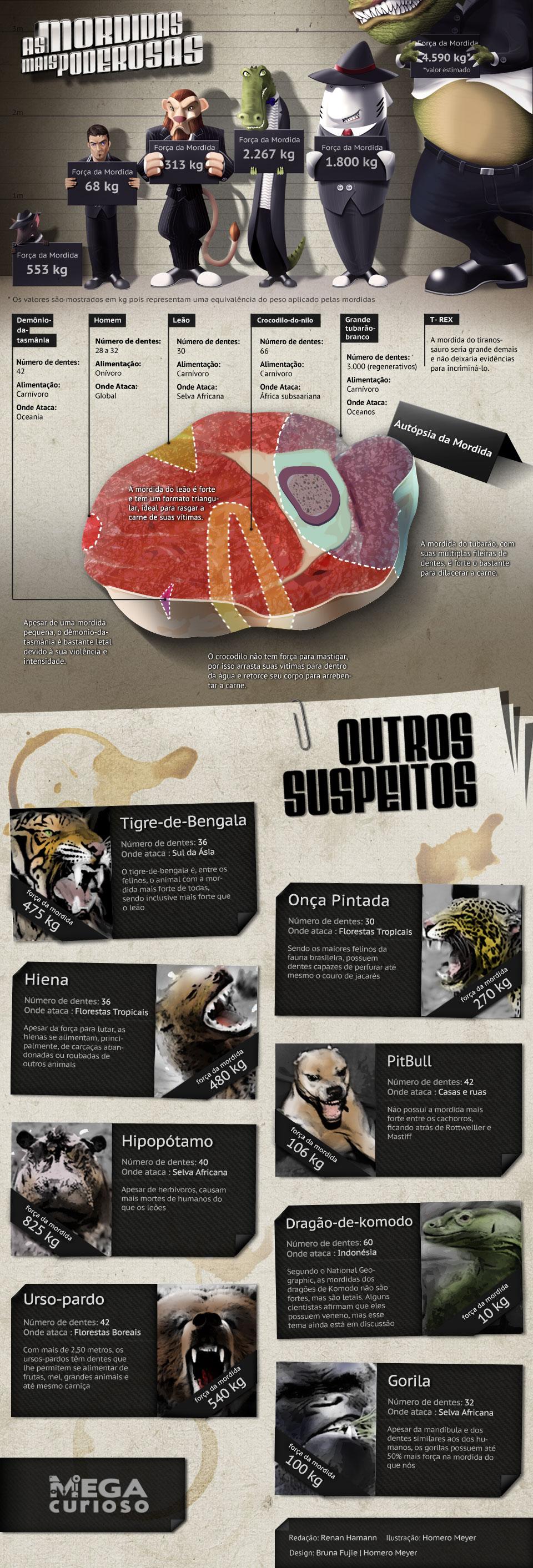 As mordidas mais poderosas do mundo animal [infográfico]