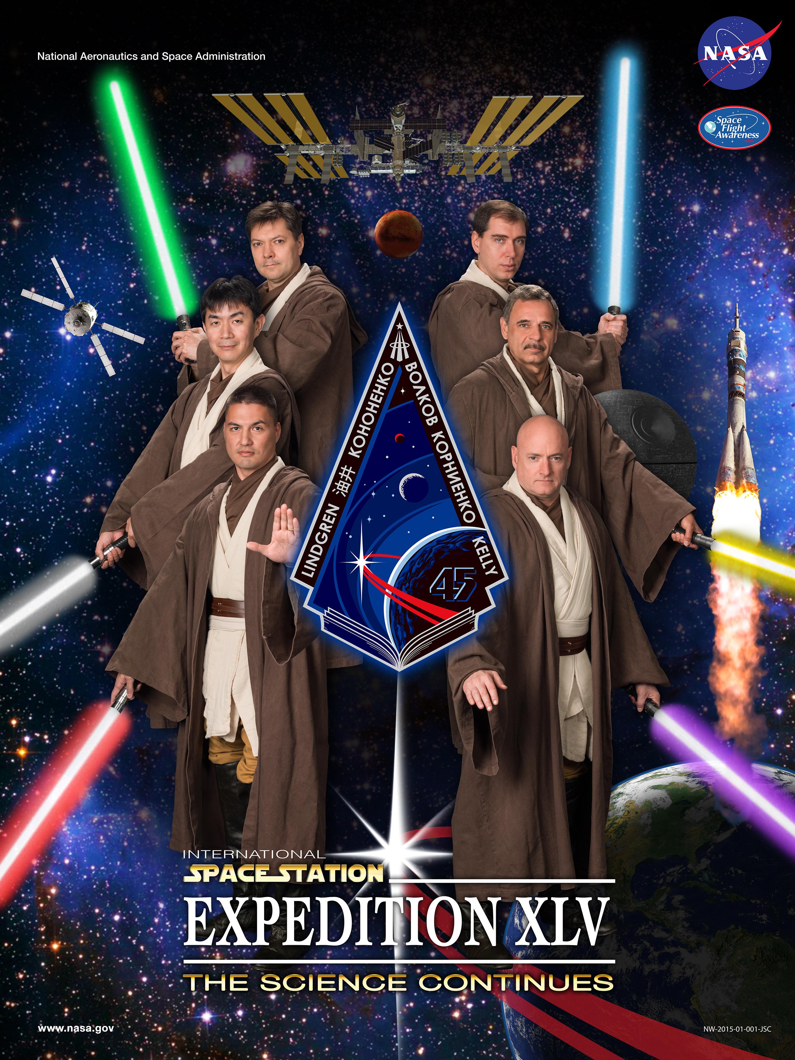 Astronautas viram cavaleiros Jedi em pôster de expedição da NASA