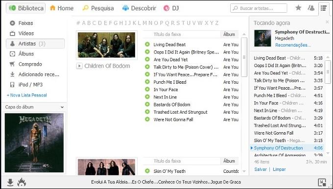 Biblioteca: visualização por bandas/cantores