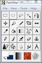 O painel de ferramentas do programa.