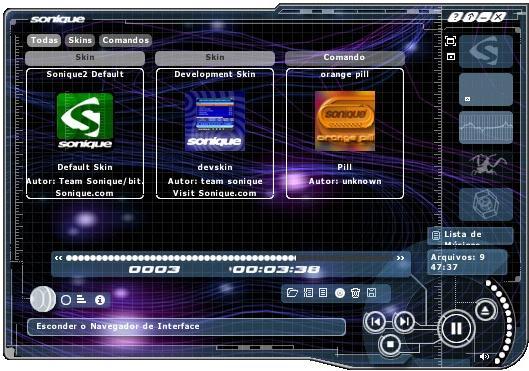 Aba de skins instalados no player