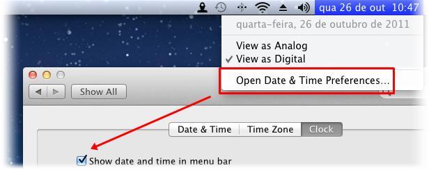Retire o relógio nativo do Mac
