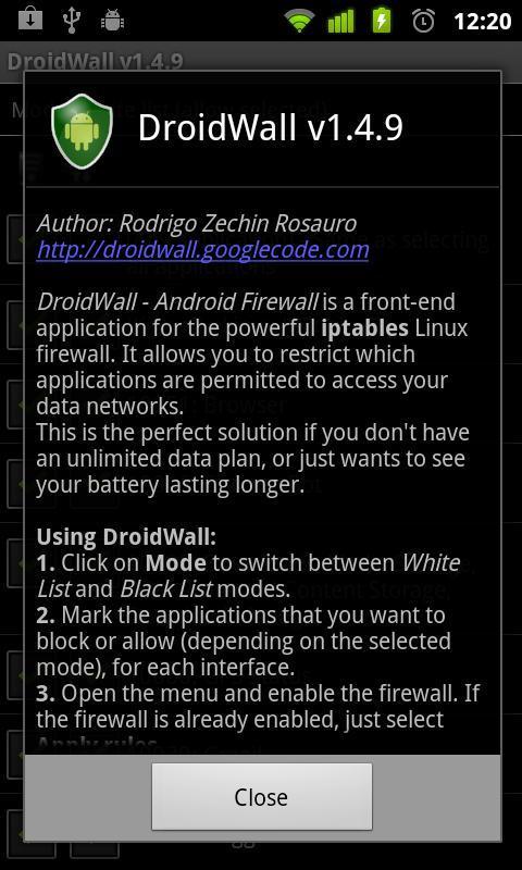 DroidWall - Android Firewall - Imagem 2 do software