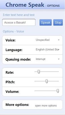 As configurações podem mudar o ritmo da fala.