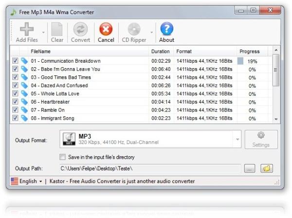 Kastor Free MP3 M4A WMA Converter - Imagem 1 do software