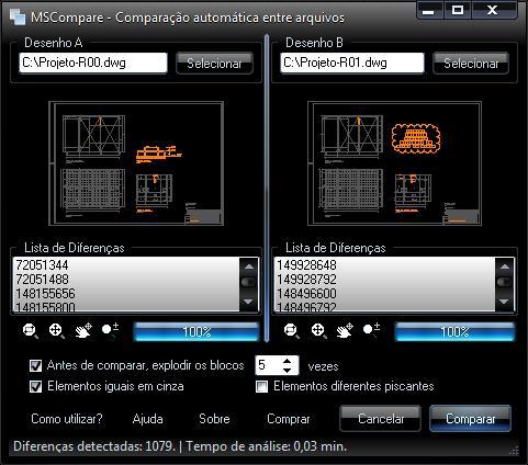 MSCompare - Comparação automática entre arquivos DWG - Imagem 1 do software