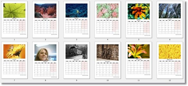 Os 12 calendários criados