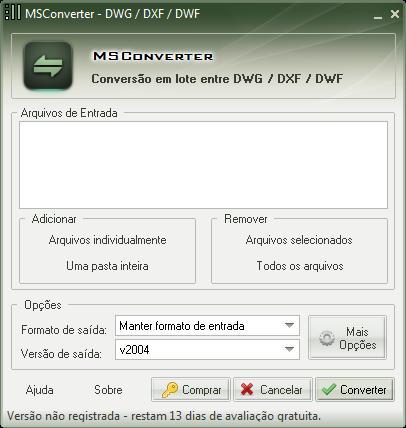 MSConverter - Conversão DWG para DXF/DWF e vice-versa - Imagem 1 do software