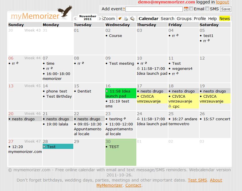 Versão demo do calendário