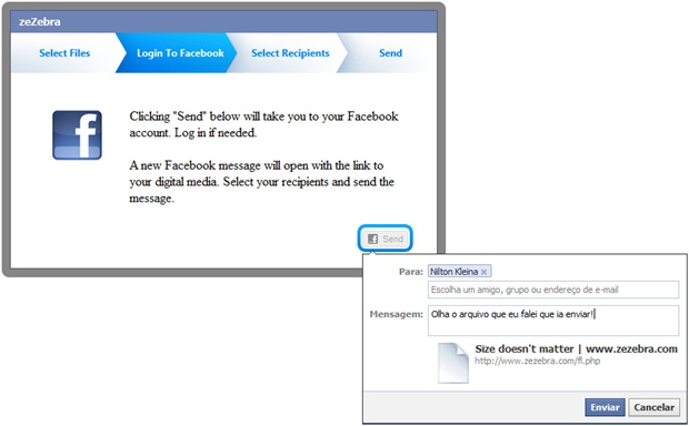No Facebook, o anexo chega como uma mensagem.