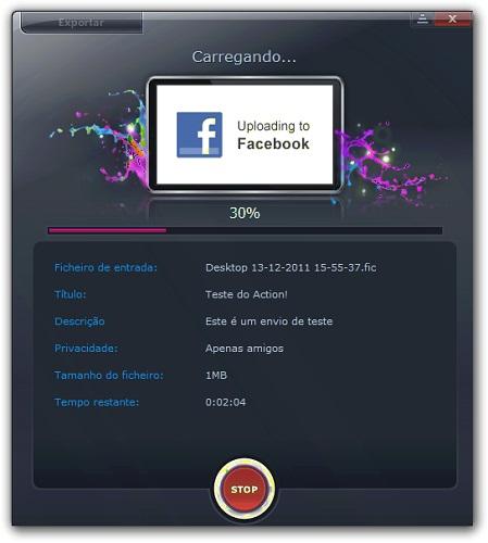 Compartilhe seus vídeos no Facebook ou YouTube