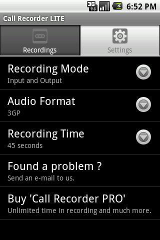 Call Recorder LITE - Imagem 3 do software