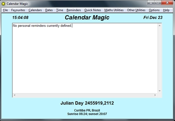 Janela principal do Calendar Magic