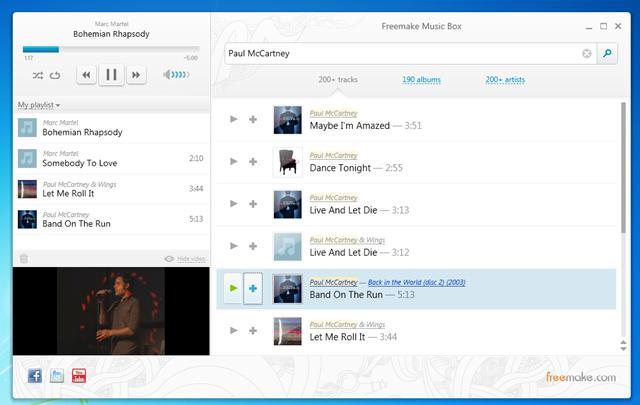 Player de música com busca online no YouTube