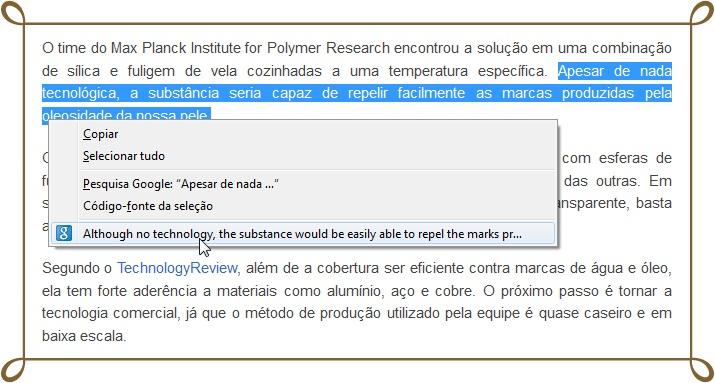 Tradução no menu de contexto. Simples!