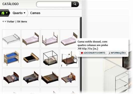 O editor possui móveis para todos os cômodos