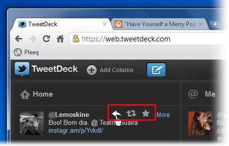 Passe o mouse sobre o tweet para ver os botões