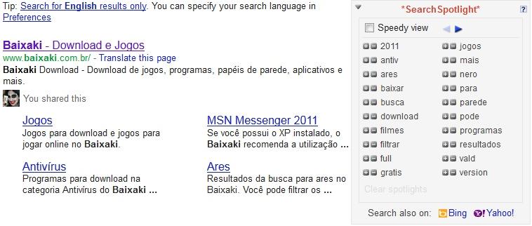 Google com mais opções