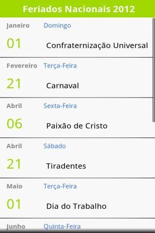 Calendário de Feriados 2012 - Imagem 1 do software