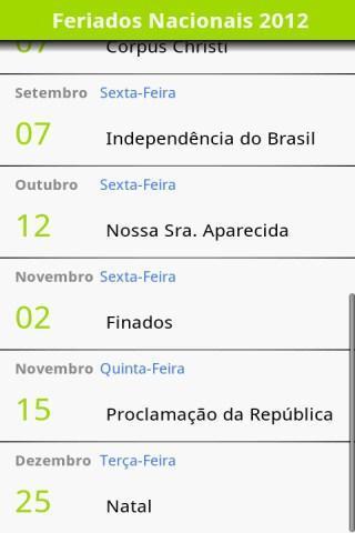 Calendário de Feriados 2012 - Imagem 2 do software