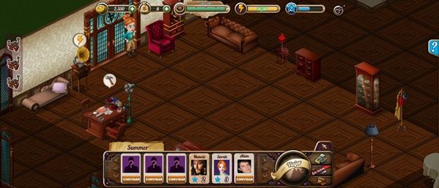 Interface do jogo: a mansão