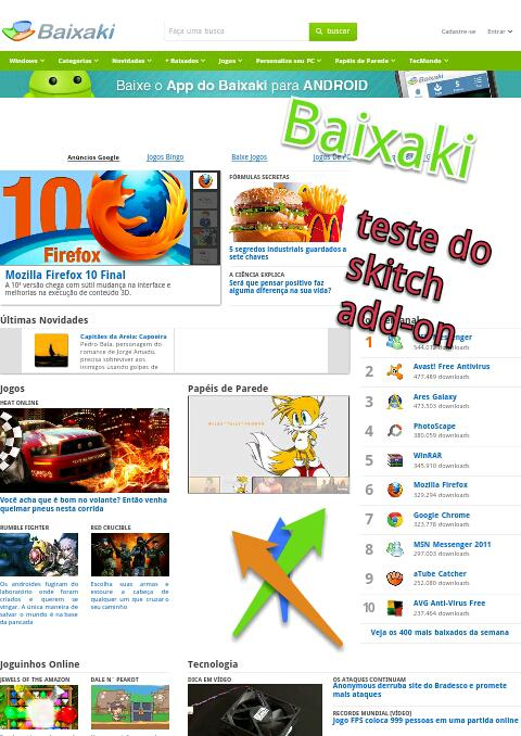Imagem capturada com o Skitch Add-on