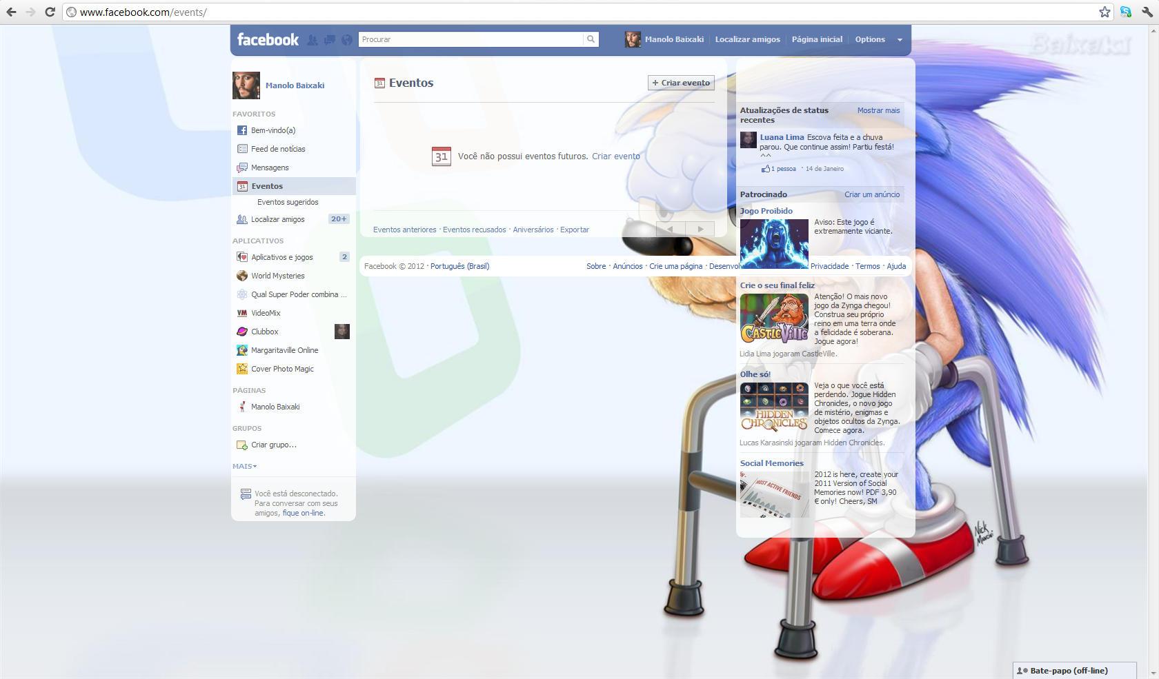 Novo plano de fundo na página do Facebook