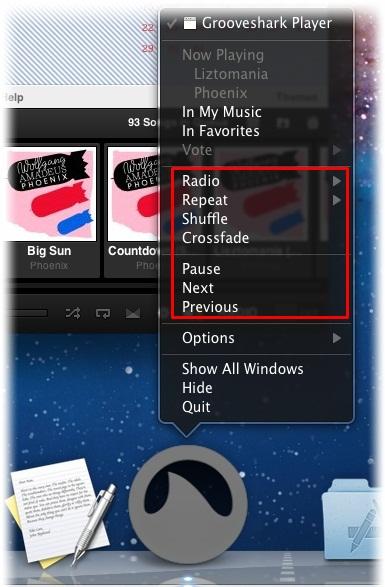 Controle a reprodução pelo ícone do Dock