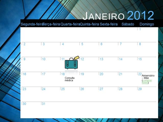 Calendário de 2012 Mensal - Imagem 1 do software