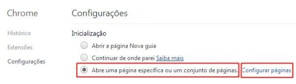 Modificando as configurações no Chrome
