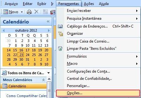 Abrindo as opções do Outlook