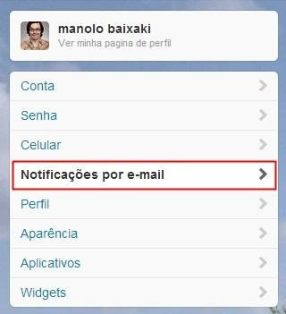 Abrindo as configurações de notificações
