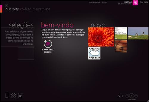 A página inicial do player.