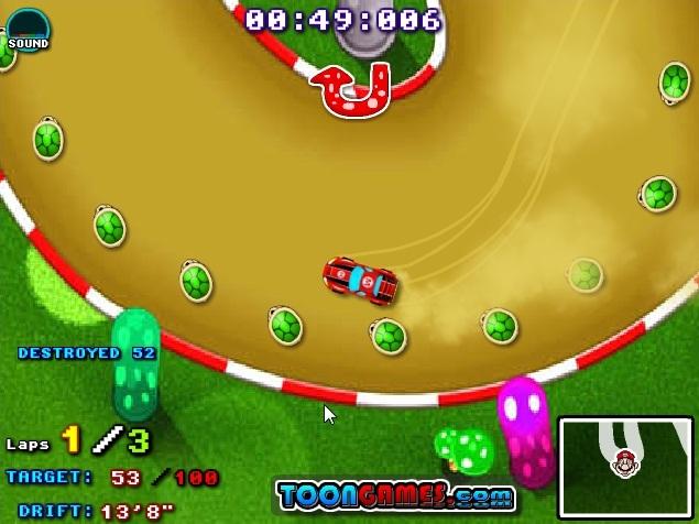 Use o freio e os controles laterais para o drift
