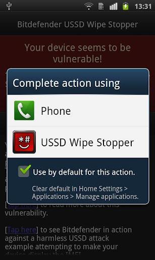 Bitdefender USSD Wipe Stopper - Imagem 2 do software