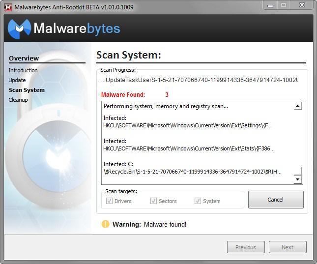 Malwarebytes Anti-Rootkit Beta.